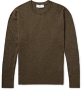 Ami Ribbed Mélange Merino Wool Sweater
