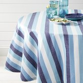 "Crate & Barrel Seaside Blue Striped 60"" Round Tablecloth"