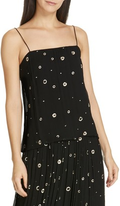 Vince Open Dot Metallic Embroidered Silk Camisole