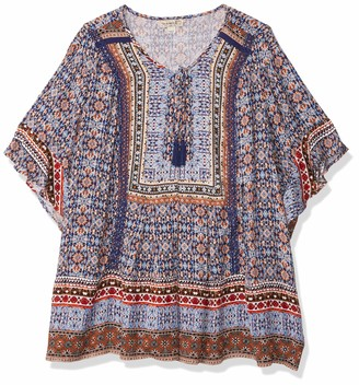 One World ONEWORLD Women's Plus Size Short Sleeve Crochet Trim Peasant Top