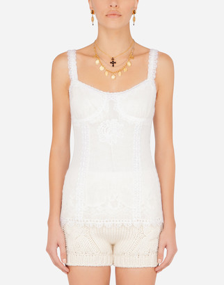 Dolce & Gabbana Tulle Tank Top With Embroidery
