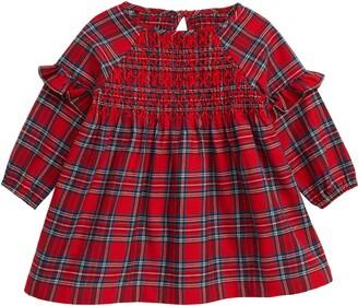 Hatley Holiday Plaid Long Sleeve Smocked Dress