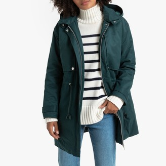 La Redoute Collections Mid-Length Hooded Parka in Cotton Mix with Pockets