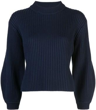 Tibi Ribbed Knit Cropped Sweater