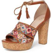Evans Tan Standard Fit Embroidered Platform Heeled Sandals