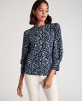 Ann Taylor Spotted Puff Sleeve Sweatshirt