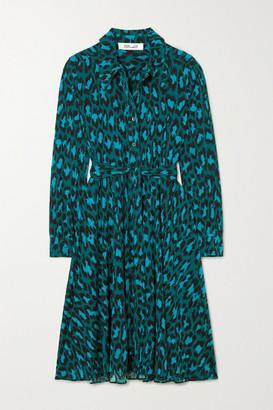 Diane von Furstenberg Dory Belted Leopard-print Stretch-jersey Dress - Turquoise