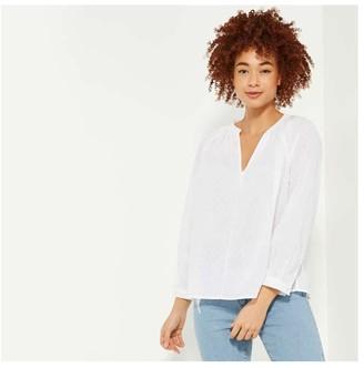 Joe Fresh Women's Split Neck Blouse, White (Size S)