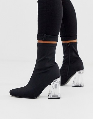 Truffle Collection sock boots with clear heel-Black