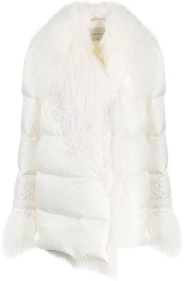 Ermanno Scervino Long-Sleeved Fur Trim Puffer Coat