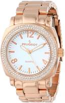 Peugeot Women's 7075RG Rose Gold Swarovski Crystal Bracelet Link Watch