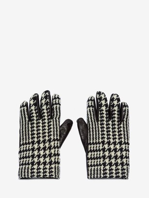 Alexander McQueen Houndstooth Leather Gloves