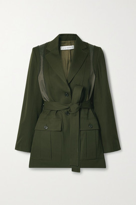 J.W.Anderson Belted Patchwork Wool And Twill Jacket - Dark green