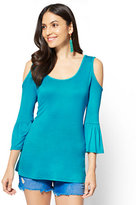 New York & Co. Soho Soft Tee - Cold-Shoulder Bell-Sleeve Top