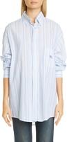 Etro GE01 Embroidered Stripe Cotton Poplin Button-Down Shirt