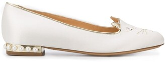 Charlotte Olympia Kitty satin ballerina shoes