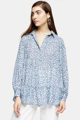 Topshop Blue Animal Print Tiered Shirt