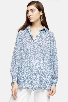 Topshop Womens Blue Animal Print Tiered Shirt - Blue