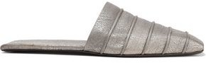 Rick Owens Ruhlmann Metallic Cracked-leather Slippers