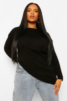 boohoo Plus Side Split Sweater
