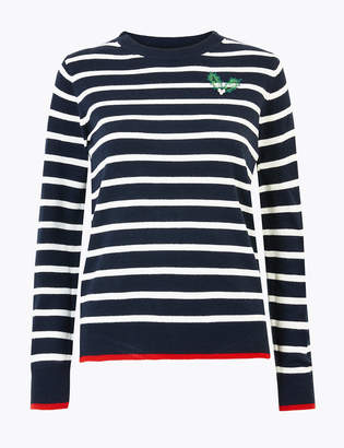 M&S CollectionMarks and Spencer Striped Holly Embellished Christmas Jumper