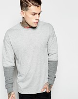 Asos Oversized Long Sleeve T-Shirt With Waffle Double Layer Sleeves