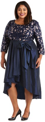 R & M Richards R&M Richards Hi-Low Dress with Lace and SequinTop