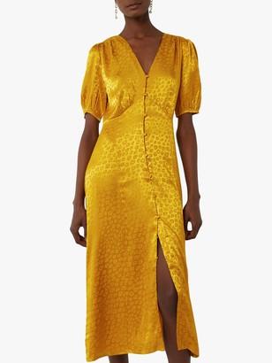 Warehouse Satin Midi Animal Print Tea Dress