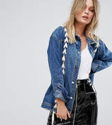 Missguided Lace Up Detail Denim Jacket