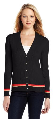 Anne Klein Women's Petite V-Neck Cardigan with Stripe