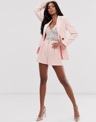 Asos Design DESIGN pink dogstooth slim suit shorts-Multi