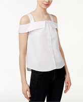 Kensie Oxford Cotton Cold-Shoulder Shirt