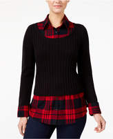 Style&Co. Style & Co Plaid Layered-Look Top, Created for Macy's