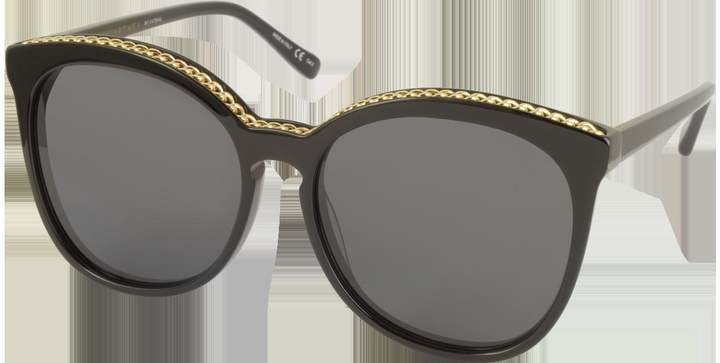 Stella McCartney SC0074S Acetate Cat-Eye Women's Sunglasses w/Goldtone Chain