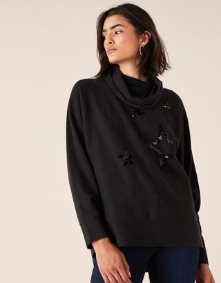 Monsoon Sequin Star Roll Neck Knit Jumper Grey