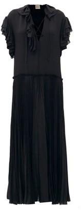 KHAITE Kaelan Lace-up Ruffle-trimmed Silk Maxi Dress - Black