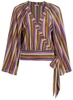 Ramy Brook Val Multicolor Stripe Wrap Blouse