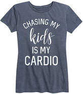 Instant Message Women's Women's Tee Shirts HEATHER - Heather Blue 'Chasing My Kids is My Cardio' Relaxed-Fit Tee - Women