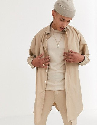 ASOS DESIGN extreme oversized shirt in tan poplin