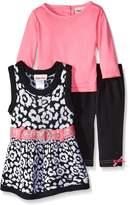 Little Lass Baby Girls' 3 Piece Sweater Jumper Set Jacquard Knit