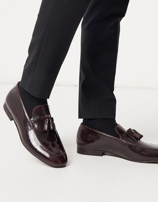 H By Hudson bolton tassel loafers in hi shine burgundy
