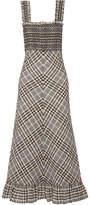 GANNI Charron Checked Cotton-blend Seersucker Maxi Dress