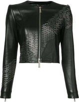 DSQUARED2 sequin detail leather jacket - women - Sheep Skin/Shearling/Acetate/Viscose - 38