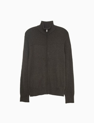 Calvin Klein Mixed Ribbed Jersey Full Zip Sweater