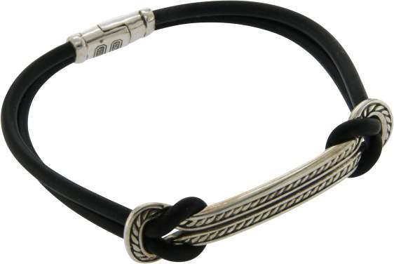 "David Yurman 925 Silver Maritime Rubber ID Bracelet Size 8"""
