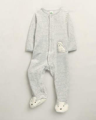 Little Me Newborn Boys) Puppy Striped Velour Footie