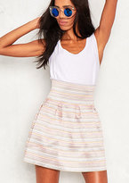 Missy Empire Manon Pink Woven High Waisted Skirt