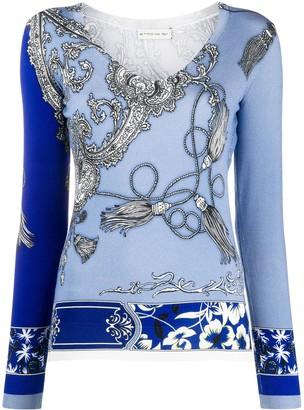 Etro paisley-pattern v-neck jumper