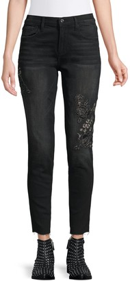 Driftwood Jackie Floral Embroidered Raw Edge Skinny Jeans