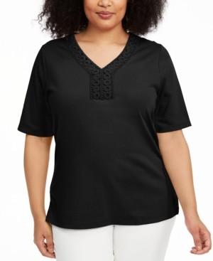 Karen Scott Petite Crochet-Trim V-Neck Top, Created for Macy's